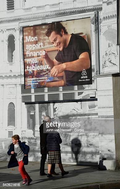 Advertising campaign billboard in Saint GermaindesPrès in Paris for Airbnb Billboard translates My apartment finances my paintings Airbnb is the...