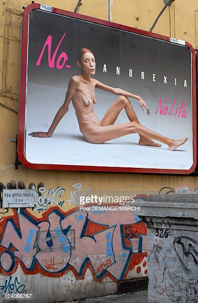 Advertising campaign featuring anorexia sufferer model photographed by controversial italian photographer Oliviero Toscani In Vandoeuvre Les Nancy...