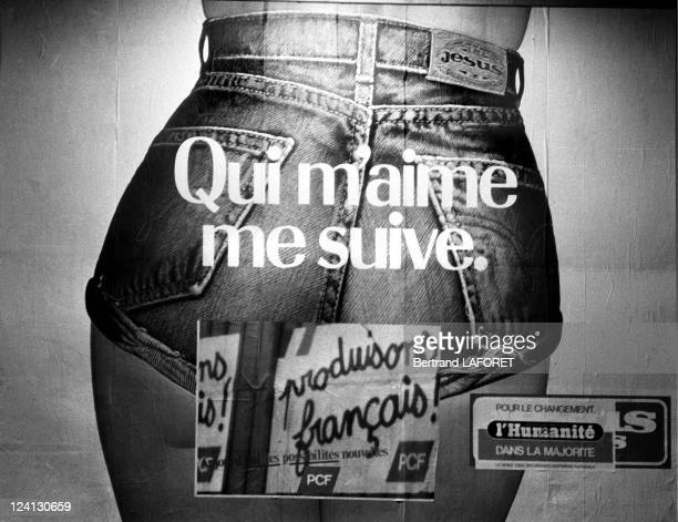 Advertising campaign for Jesus jeans in Paris France on February 12 1982