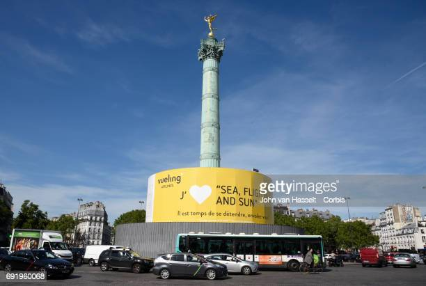 Advertising campaigns displayed on large canvases cover facades of historic buildings and monuments on May 10 2017 in Paris France The displayed...