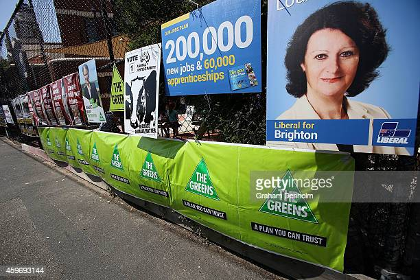 Advertising collateral is seen at the Brighton District voting centre for the Victorian State Election on November 29 2014 in Melbourne Australia