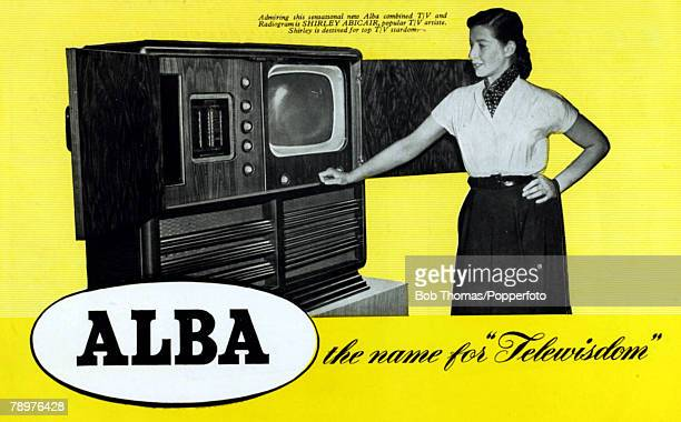 1954 The very latest in televison/radiogram design from 'Alba' with TV artiste Shirley Abicair demonstrating