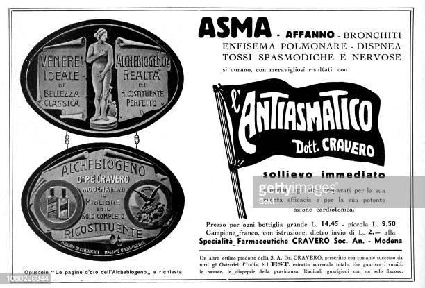 Advertising during the first World War in 1915 Antiasmatico Antiasthma Dott Cravero bronchitis pulmonary emphysema dyspnea spasmodic and nervous cough