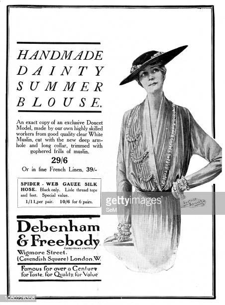 Advertising during the first World War in 1915 Debenham Freebody Furs Handmade Lingerie Blouse Crepe de Chine Nightdress Tea Frock FurTrimmed...
