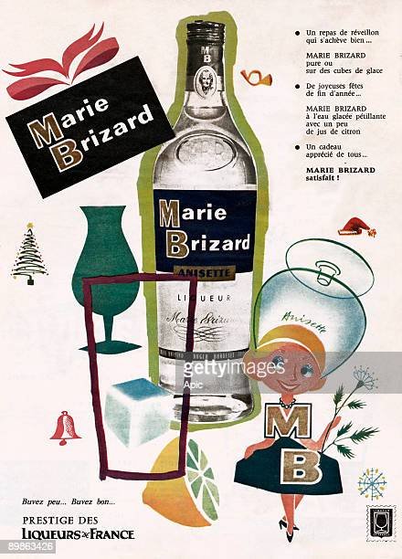 Advertising for aniseed liqueur Marie Brizard 60's