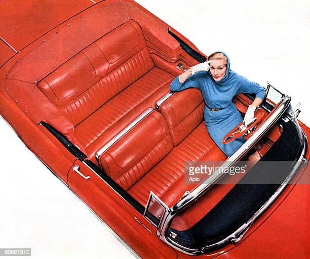 advertising for 'Genuine Leather' of Upholstery Leather Group Inc with convertible Buick Roadmaster published in american magazine april 1956