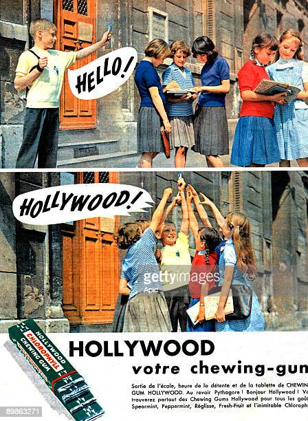 Advertising for Hollywood chewing gum with children at the school gates 70's