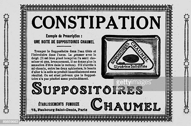 Advertising for suppositories for constipation Chaumel extracted from the Almanach Vermot 1926