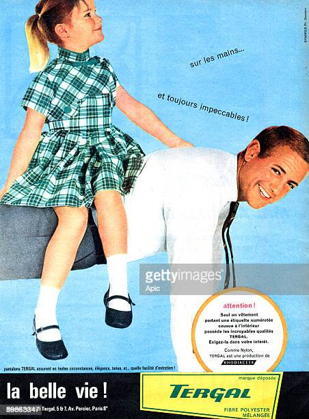 Advertising for Terylene clothes polyester fibre impeccable elegant and easy to look after clothes 60's