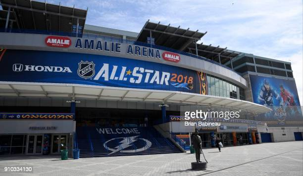 Advertising for the 2018 NHL All Star weekend seen at the Amalie Arena on January 25 2018 in Tampa Florida