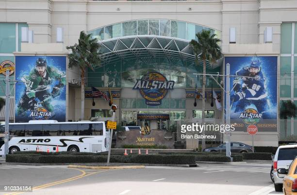 Advertising for the 2018 NHL All Star weekend seen at the Marriott hotel on January 25 2018 in Tampa Florida