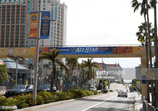 Advertising for the 2018 NHL All Star weekend seen downtown on January 25 2018 in Tampa Florida