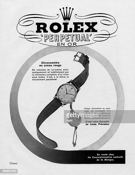 Advertising for the Rolex watch Perpettual Gold 1950