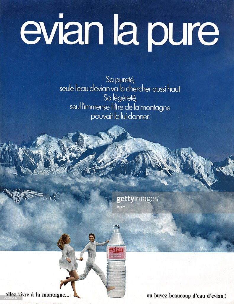 Advertising for water Evian, 70's : News Photo