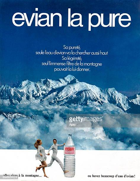 Advertising for water Evian 70's