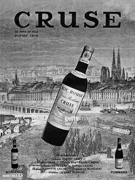 Advertising for wine Cruse from father to son since 1819 and Bordeaux in December 1966 Pommard