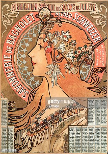 Advertising illustration by Alphons Mucha for the soap company Savonnerie de Bagnolet Alfred Schweizer from a 1898 calendar - Private collection