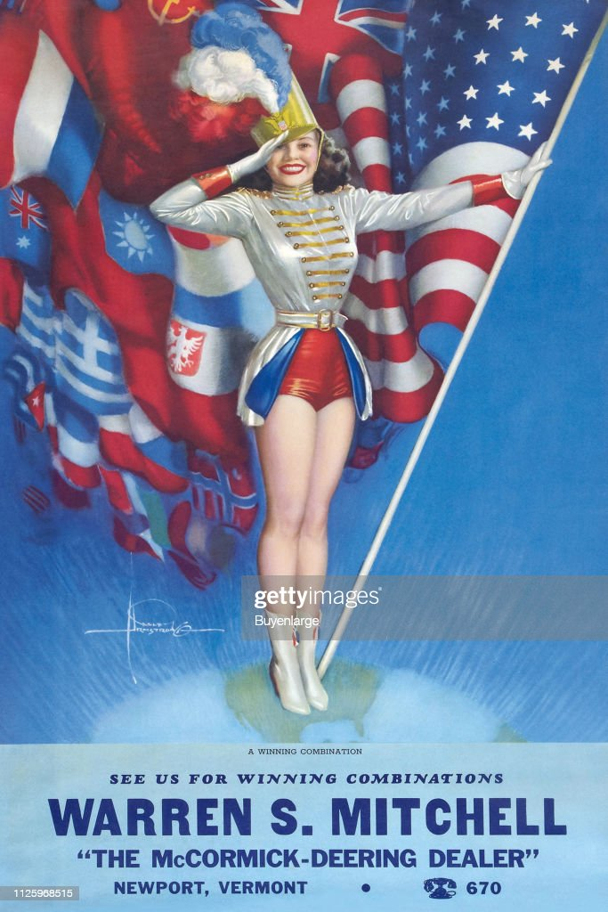 a08101061af Advertising illustration from a calendar features an illustration of ...