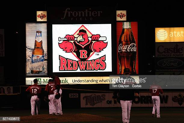 Advertising in the outfield during the Rochester Red Wings V The Scranton/WilkesBarre RailRiders Minor League ball game at Frontier Field Rochester...
