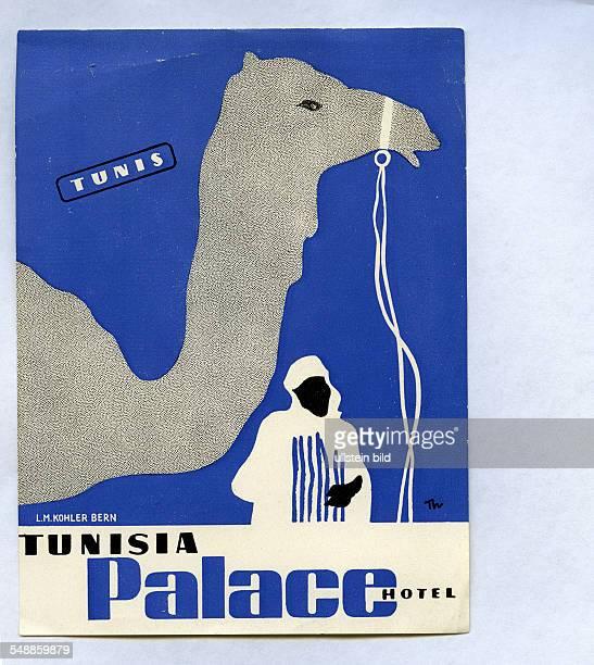 Advertising label Tunesia Palace Hotel - 50er Jahre
