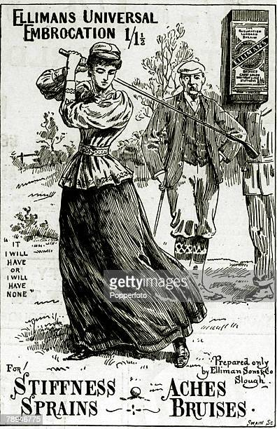 Advertising Medicine/Sport Illustration from the Illustrated London News from 1894 pic 1894 A golf sketch used to praise the benefits of Ellimans...