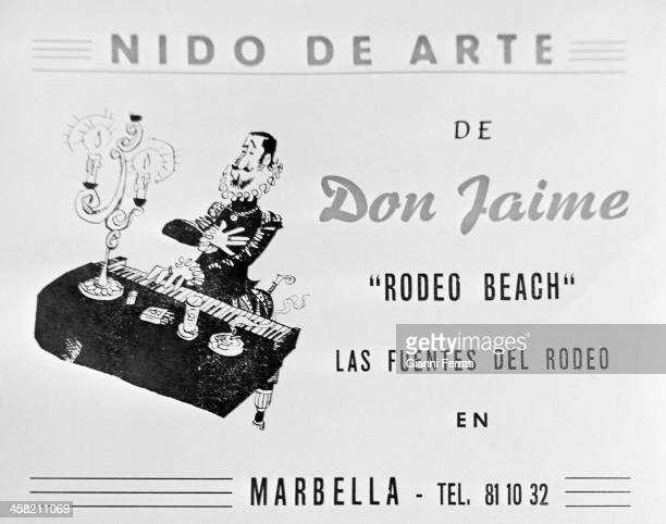 Advertising of the 'Nest Art' in the 'Rodeo Beach' where Jaime de Mora y Aragon acted as pianist Marbella Malaga Spain