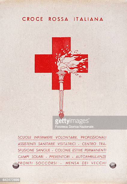 Advertising post card that lists all the services provided by the Italian Red Cross to the community schools volunteer nurses professional assistant...