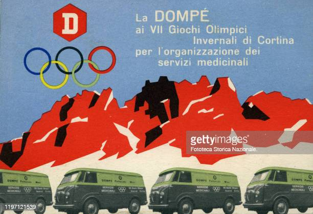 Advertising postcard of the Milanese pharmaceutical company Dompé engaged in the organization of services for medicines at the seventh edition of the...