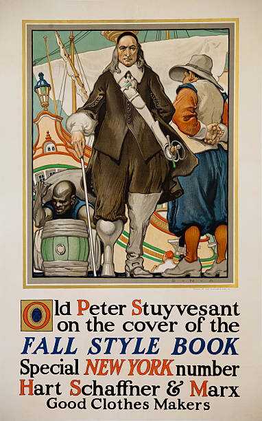 Advertising Poster For American Clothing Company Hart Schaffner Marx Old Peter Stuyvesant Watching