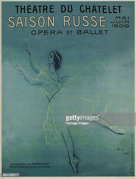 Advertising Poster for the Ballet dancer Anna Pavlova in the ballet Les sylphides by F Chopin 1909 Found in the collection of the Russian State...
