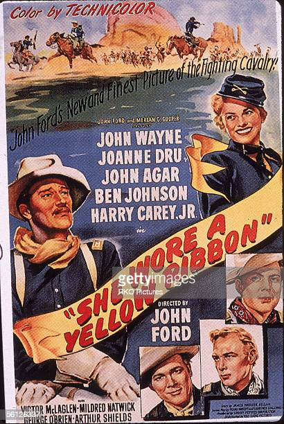 Advertising poster for the classic American Western film 'She Wore a Yellow Ribbon' starring John Wayne Joanne Dru John Agar Ben Johnson and Harry...