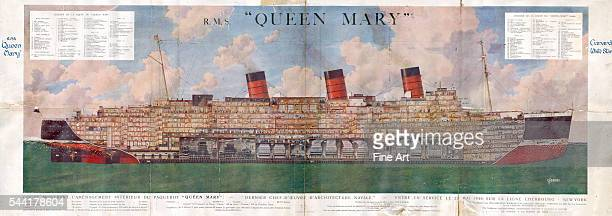 Advertising poster for the Cunard Star Line with a cutaway view and details of the layout of the Queen Mary from 1936 Cunard White Star Shipping...