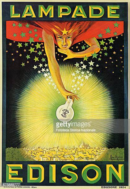 Advertising poster for the Lamps 'Edison' brand a light bulb held from an allegorical figure illuminates the city of Milan Thomas Edison tested the...