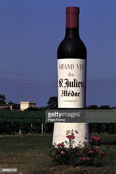 Advertising poster of French wine View of an advertising poster in shape of bottle of wine of the St Julien Medoc Company Area of Bordeaux