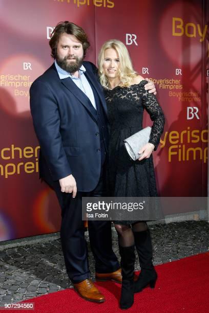 Advertising star Antoine Monot Jr and his partner Stefanie Sick attends the Bayerischer Filmpreis 2018 at Prinzregententheater on January 21 2018 in...