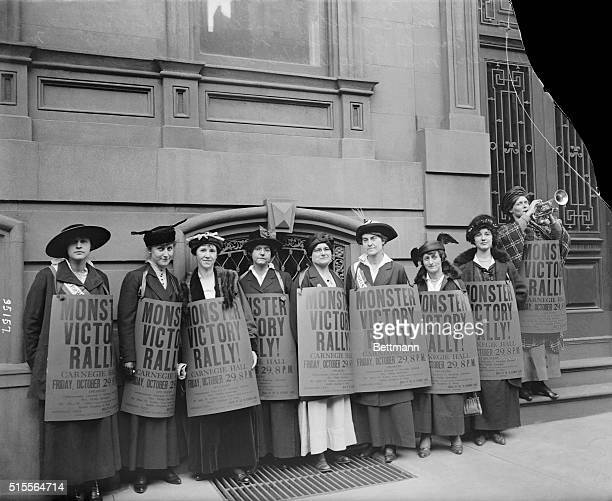 Advertising suffrage rally in Carnegie Hall, October 29, 1915 Miss May Newcomb; Mrs. Horace C. Stillwell; Mrs. Emma Warren Showers; Miss Elizabeth...