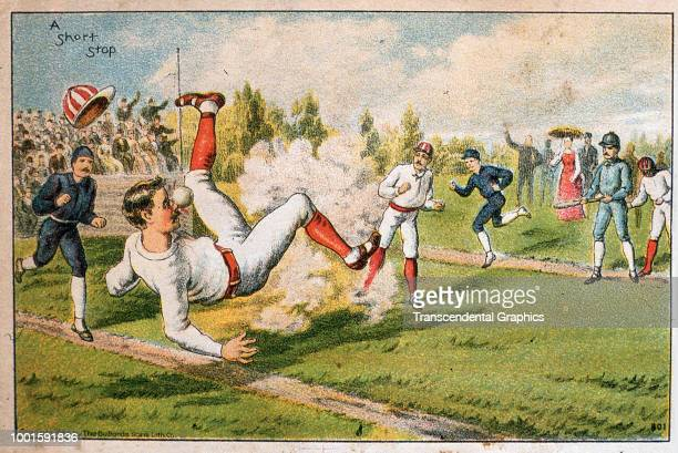 Advertising trade card entitled 'A Short Stop' features an illustration of a baseball player knocked over as he is hit in the nose by a ball during a...