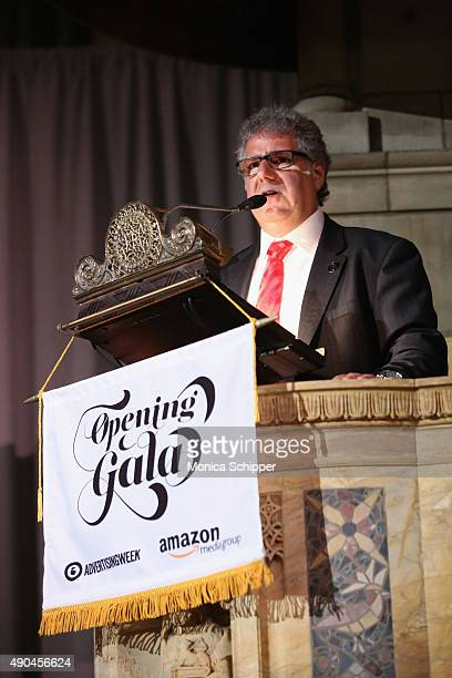 Advertising Week Executive Director Matt Scheckner speaks at the Opening Gala during Advertising Week 2015 AWXII at St Bartholomew's Church on...