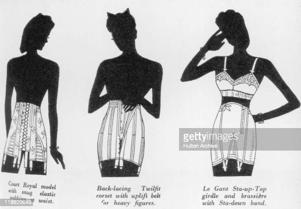 Advertisment depicting three silhouettes of women each wearing various items of underwear with the captions 'Court Royal with snug elastic webbing at...
