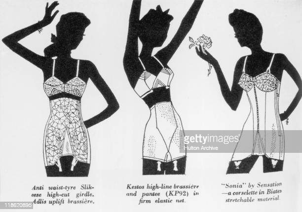 Advertisment depicting three silhouettes of women each wearing various items of underwear with the captions 'Anti waisttyre Slikeese highcut girdle...