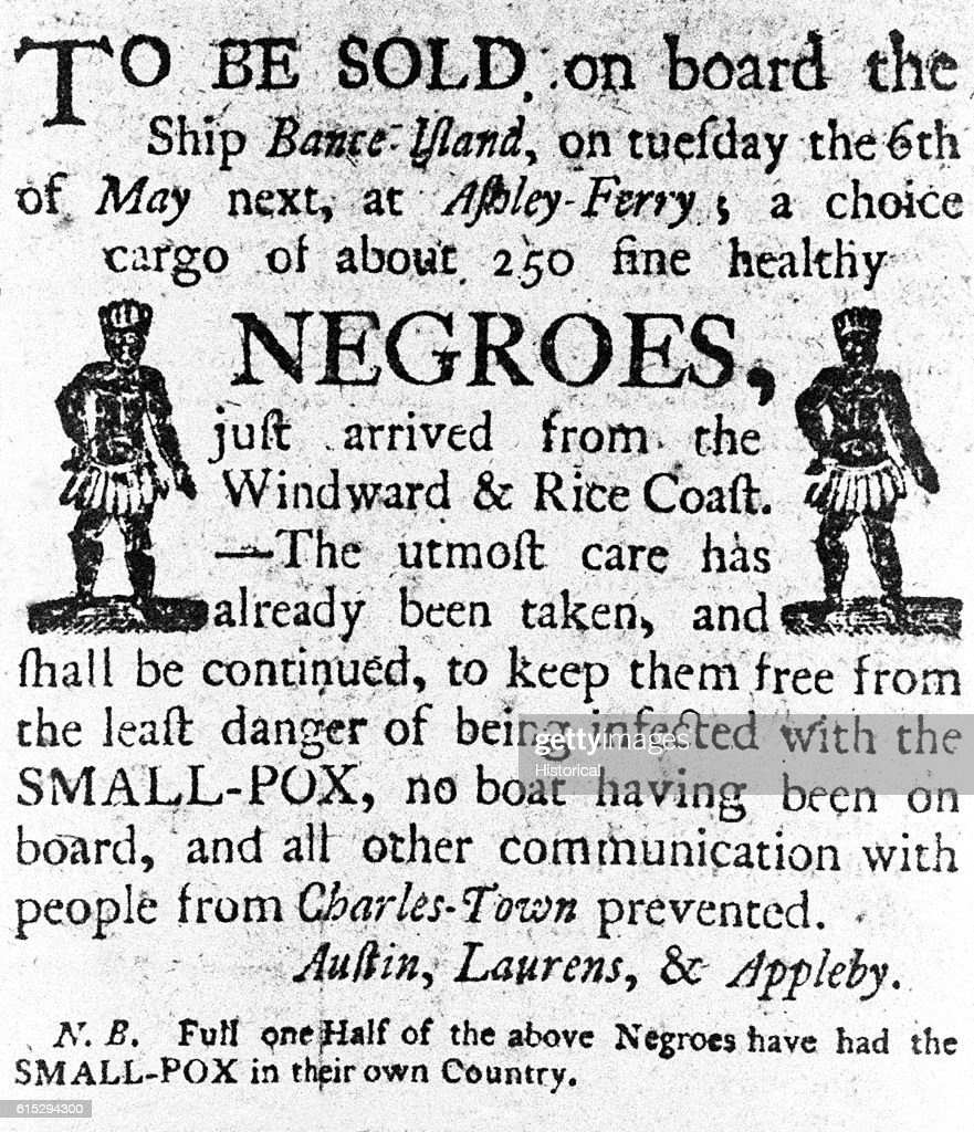Advertisment for a Slave Sale : News Photo
