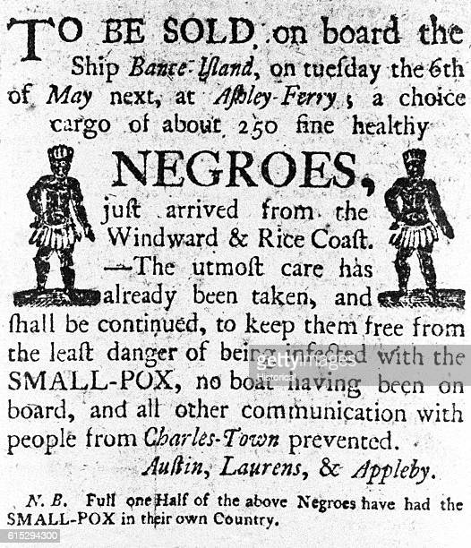 Advertisment for an AfricanAmerican slave sale