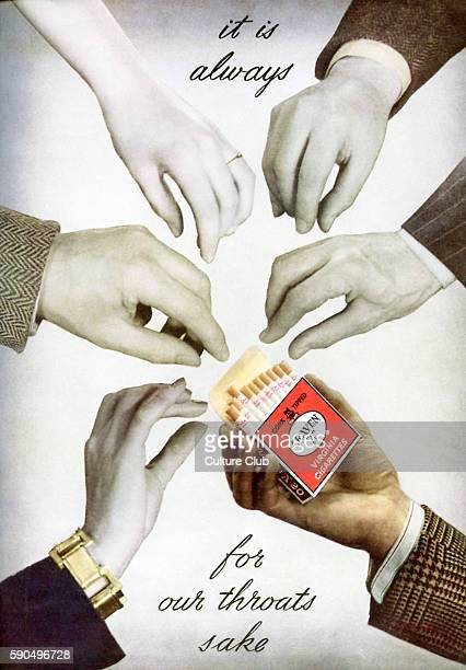 Advertisment for 'Craven A' Virginia Cigarettes Caption reads 'It is always for our throats sake' Male and female hands surround a packet of...