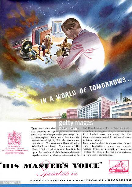 Advertisment for His Master 's Voice / HMV celebrating the technological advances of the company Man in lab coat looking through a microscope British...