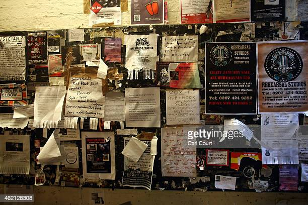 Adverts for musicans are seen on Denmark Street nicknamed 'Tin Pan Alley' on the outskirts of Soho on January 21 2015 in London England A growing...