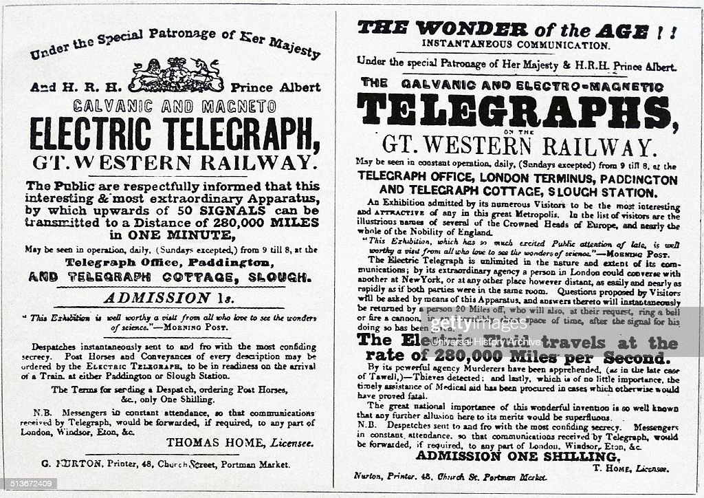 Adverts for the introduction of the telegraph on the Great Western Railway. : News Photo
