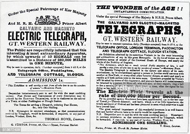 Adverts for the introduction of the telegraph on the Great Western Railway in England