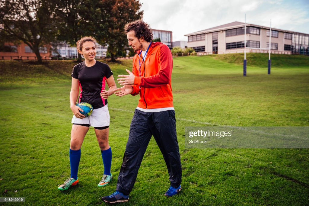 Advice from her Rugby Coach : Foto stock