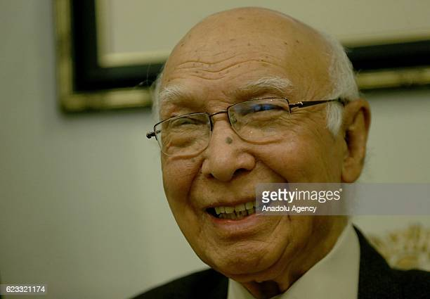 Adviser to the Pakistan's Prime Minister on Foreign Affairs Sartaj Aziz poses for a photo during an exclusive interview at foreign ministry building...