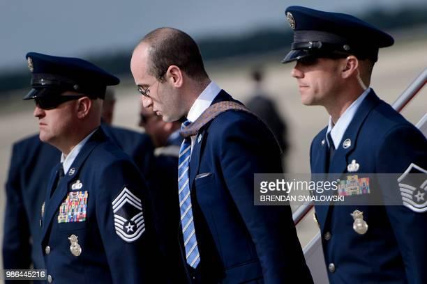 Advisor Stephen Miller with US President Donald Trump arrives at Andrews Air Force Base June 28 2018 in Andrews Air Force Base Maryland